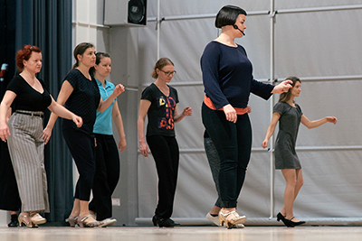 Sofia Enros teaching Balboa footwork in Re Mix Vintage Shoes at Ritz Winter Hop 2018 in Vörå, outside Vasa / Vaasa, Finland / Suomi. Mildreds kompani swingdance swingdans