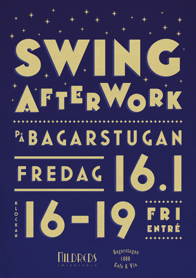 Mildreds swingskola Swing After Work på Bagarstugan fredag 16 januari Mariehamn Åland Lindy hop Balboa Hot jazz god mat kvällsöppet